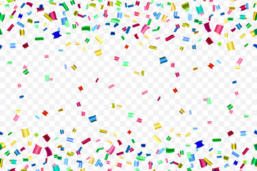 Bright colorful falling confetti isolated on trasparent background.