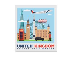 United Kingdom Famous Tourist Destination Postcard Illustration