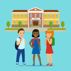 Kids group and school building isolated. Vector flat style illustration.