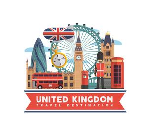 United Kingdom Famous Tourist Destination Banner Illustration