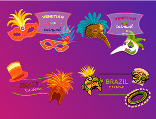 Carnival Italy and Brazil web banner masks celebration festive carnaval masquerade background festival flyer vector illustration.