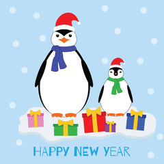 Happy new year. Penguins in Christmas hats and gifts on the ice