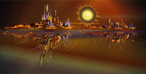 Abstract vector picture, simulation oil painting. Sun, mountain, sea.