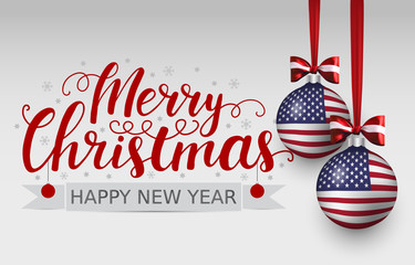 Vector christmas patriotic card with lettering and balls with american flag. 