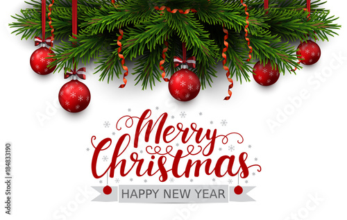 vector border of christmas tree branches with red ribbon and balls merry christmas and happy