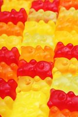 Gummy bear background. Gummy bears as texture. Gum bear candy colorful pattern. Gum bears.