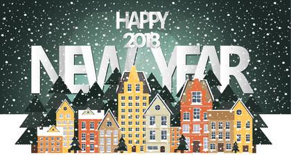 Winter landscape. New Year poster. Winter in village.