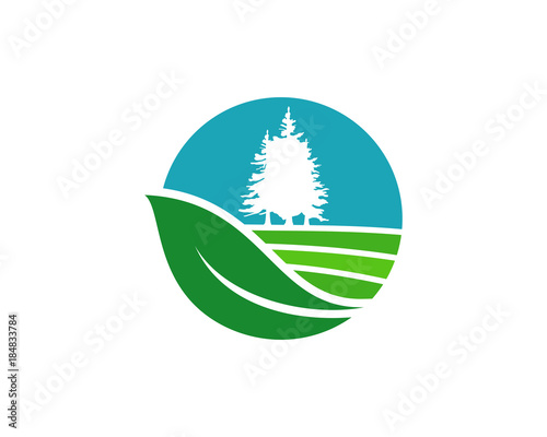 Circle Leaf Farm Fields With Pine Tree Generic Symbol Logo Modern
