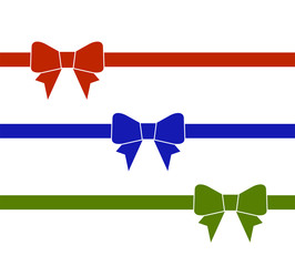 Set of decorative beautiful colorful bows with horizontal ribbon isolated on white background. Vector bow.