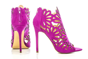 High Heels ankle boots in pink cut-out ornate design