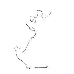 Waltz. Sketch of dancing couple. Symbol. Line vector.