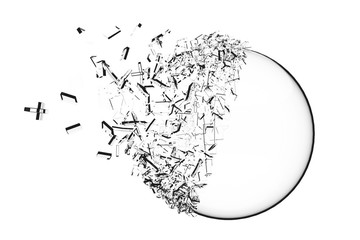 Sphere explosion isolated on white background 3d illustration