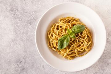 Pasta with homemade pesto sauce.
