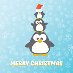 vector merry christmas card with penguins set on blue background with falling snowflakes. cartoon funny penguins
