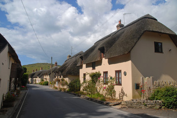 Thatched roof cottages in Lulworth, United Kingdom