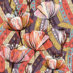 Hand drawn decorative tulips, seamless vector pattern