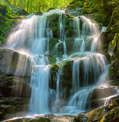 Ingelijste posters Watervallen Forest waterfall Shipot. Ukraine, Carpathian mountains.