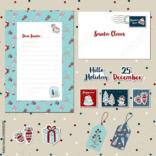 a set of merry christmas santa cute letter envelope templates