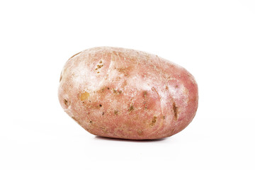 Big whole potato on isolated white studio background. Closeup photo. Clipping path. Easy to use. White background. Cutout cut out.