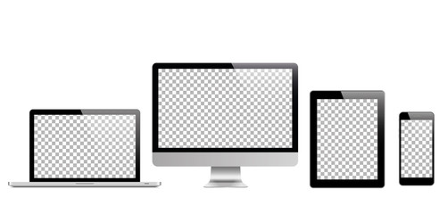Set of realistic laptop tablet and phone monitors.Vector