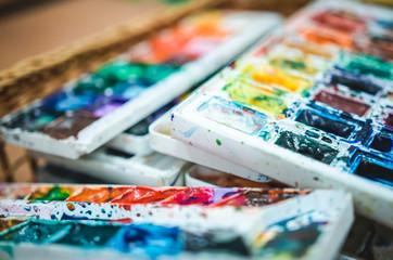 Artistic watercolor paints