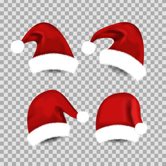 Vector set of realistic isolated Santa Claus hat for decoration and covering on the transparent background. Concept of Merry Christmas and Happy New Year.