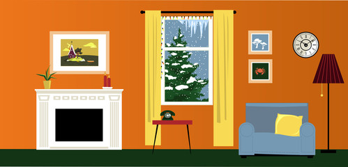 Interior of a cozy family room with a fireplace and reading nook, winter landscape behind the window,  EPS 8 vector illustration