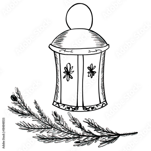 glass lantern with floral decor and christmas fir tree branch symbols of new year and