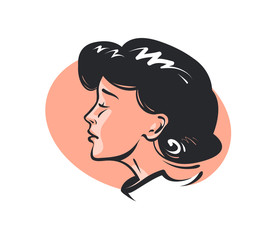 Beautiful face of young woman or girl. Beauty, fashion, makeup concept. Retro sketch vector illustration