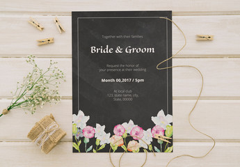 Chalkboard Wedding Invitation with Floral Footer