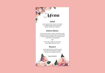 Floral Wedding Menu Layout