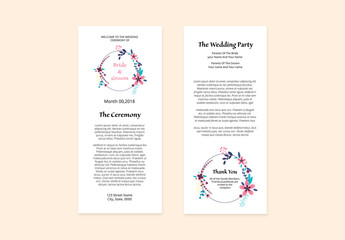 Wedding Ceremony Program with Floral Circle Element