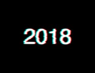 Inscription 2018. Distorted Glitch Style Modern Background. Glow Design for Graphic Design - Banner, Poster, Flyer, Brochure, Card. Vector Illustration.
