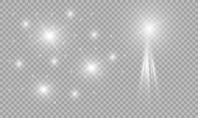 Glow light effect. Star burst with sparkles. sunlight.