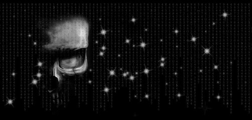human skull looking straight at you on a black background with numbers and flashes of stars