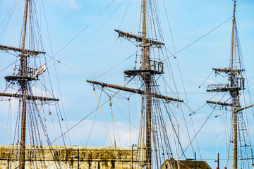 Old pirate frigate and boats in St-Malo