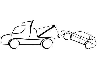 Dynamic illustration of a tow truck with a car
