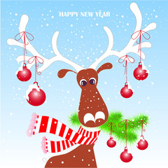 Cartoon funny, cute reindeer in red striped scarf with white horns, branch, snow, Happy New Year stock vector illustration for typography banner, for congratulation card, greeting card