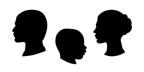 Vector black silhouette of family