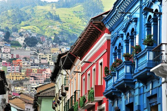 Typical Colorful colonial architetcure in Quito, Ecuador