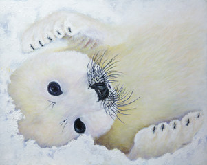 Baby Cakes Harp Seal Pup Oil Painting