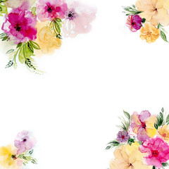 Beautiful floral watercolor frame and corners. Hand-drawn flowers.