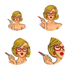 Set of vector pop art round avatar icons for users of social networking, blogs, profile icons. Young sexy fashionable girl paints her lips with red lipstick, puts on makeup