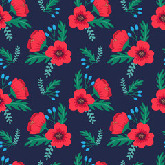 Elegant colorful seamless floral pattern with red poppies and wild flowers on dark background. Ditsy print. Vector illustration