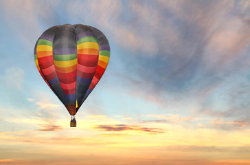 Colorful Hot Air Balloon Ascending at Sunrise