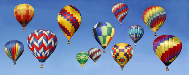 Panorama of Hot Air Balloons Ascending