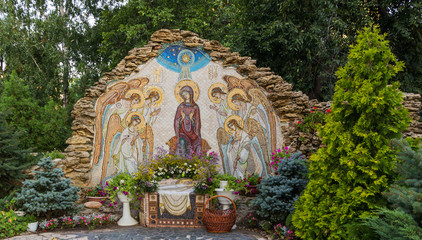 Christmas mosaic icon of Virgin Mary with angels the birthplace of Jesus Christ.