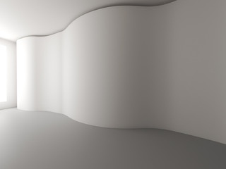 Empty room white curve wall