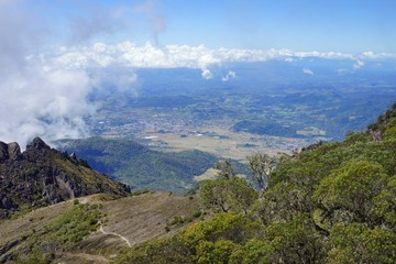A view from the top of Baru Volcano, Panama to the valley with town in the distance