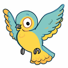 cute  bird  flying illustration drawing color  blue and yellow  and speaking